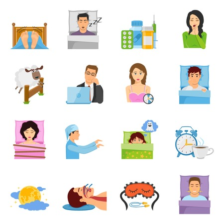 pajama: Sleep disorders decorative icons set with cartoon characters of suffering people sleeping mask alarm and medication vector illustration