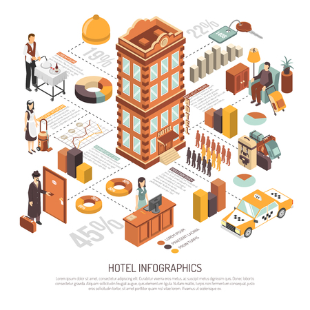 Hotel net infrastructure service facilities and guests reservations statistics diagrams isometric comprehensive presentation poster vector illustration