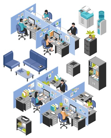 businessman in office: Isolated isometric cubicle office workplaces set with desktop tables shelves and workers images on blank background vector illustration