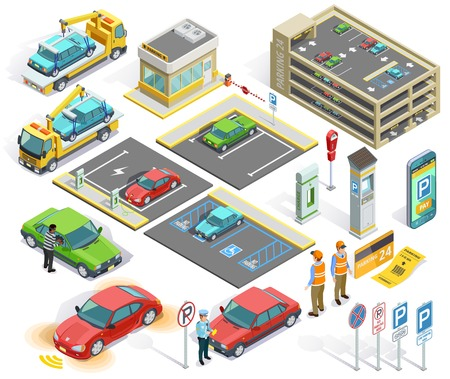 Parking isometric elements set with cars policeman building stealing evacuator roadsigns charging station ticket isolated vector illustration