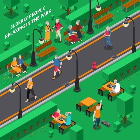 people relaxing: Elderly people relaxing in green park isometric composition vector illustration