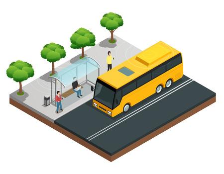 Concepto isométrico de comunicación inalámbrica de la ciudad con personas en una ilustración de vector de parada de autobús