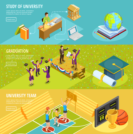 information  isolated: University education 3 horizontal isometric banners with information on study choice sport and graduation isolated vector illustration