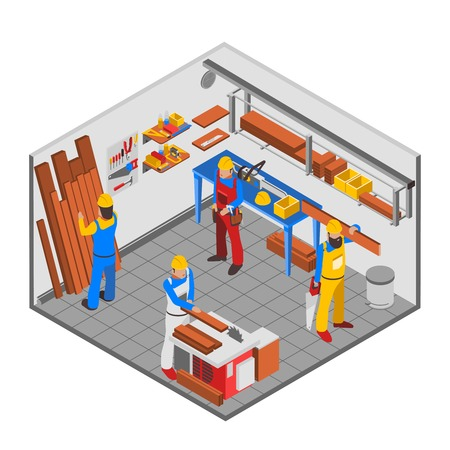 workshop: Woodwork people isometric concept with equipment tools and room vector illustration