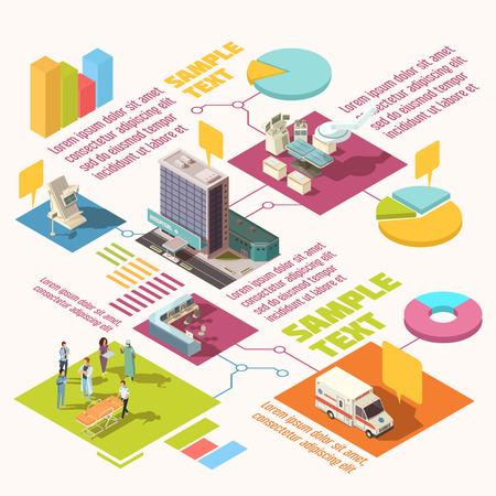 emergency cart: Colorful isometric hospital infographics with sample text and diagram template vector illustration