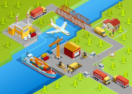 sea freight: Logistic delivery template with shipping air transport trucks sea freight production and warehouse vector illustration