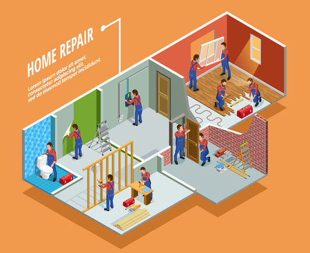 Home repair isometric template with painting carpentry  installation of toilet door and window  isolated vector illustration Stock Illustratie