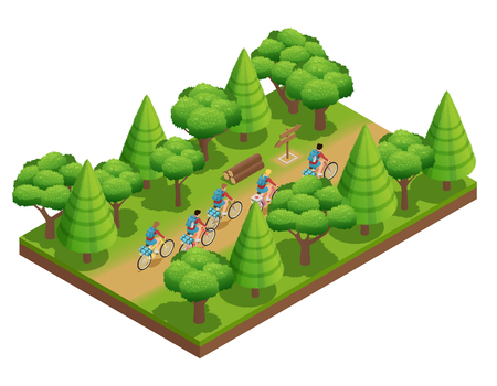 adventures: Camping hiking isometric composition tourists go on forest trail in park on bicycles vector illustration