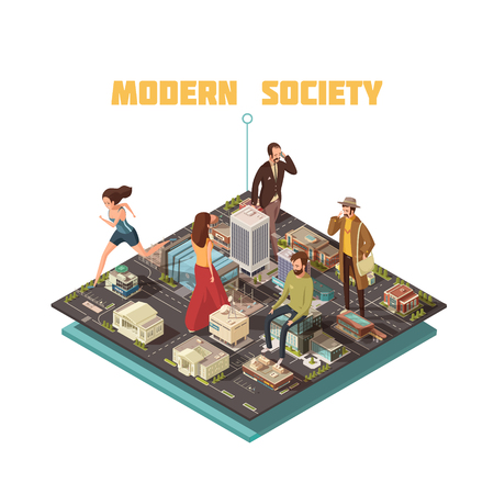 Modern urban society with people having different occupations isometric vector illustration