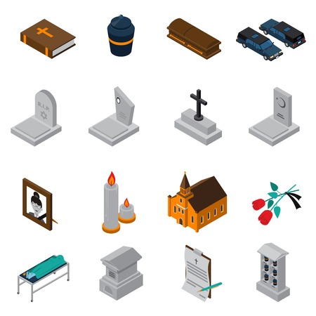 Funeral isometric icons set of bible ash coffin tombstone candles photo church roses testament isometric vector illustration Illustration