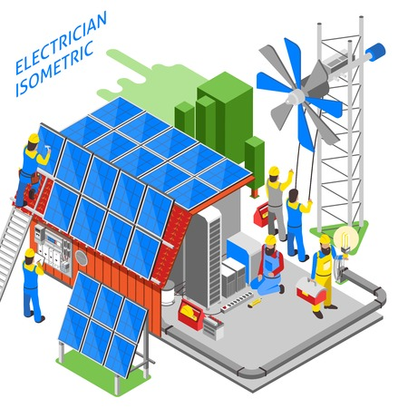Colored 3d electrician people isometric composition people are doing their job installation of solar panels vector illustration