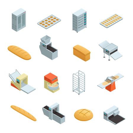 Het gekleurde en geïsoleerde isometrische die pictogram van de bakkerijfabriek met elementen en hulpmiddelen wordt geplaatst om brood vectorillustratie te bakken