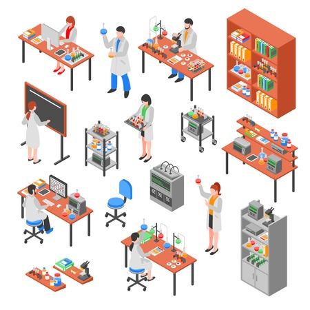 De geïsoleerde isometrische die elementen van het wetenschapperslaboratorium met kleurrijke van het de karakterslaboratorium van apparatuurarbeiders werkplaatsen en het meubilair vectorillustratie plaatsen