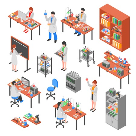 Isolated scientists laboratory isometric elements set with colorful equipment worker characters laboratory benches workplaces and furniture vector illustration