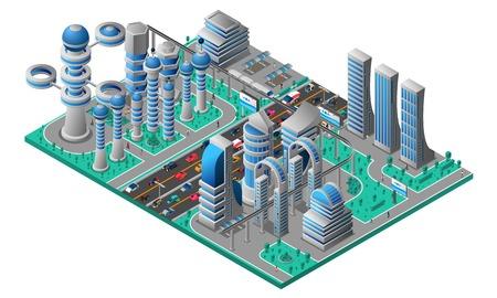 Futuristisch cityscape isometrisch malplaatje met gebouwen van toekomstige wegauto en bomen vectorillustratie Stock Illustratie