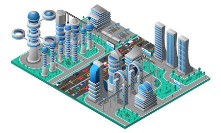 Futuristic cityscape isometric template with buildings of future road car and trees vector illustration Illustration