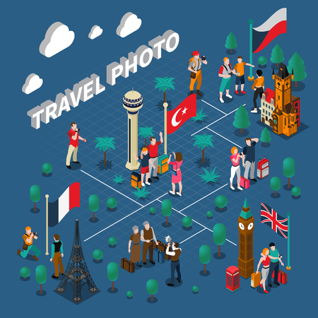 famous people: Tourism people isometric composition with travelers family photographing near different famous sights vector illustration