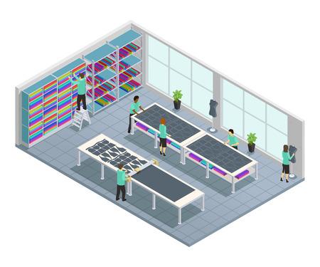 工場のベクトル図でショップの衣料品会社のワークフローと服工場等尺性組成物