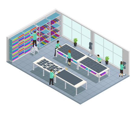 Clothes factory isometric composition with workflow for clothing company in shop at the factory vector illustration