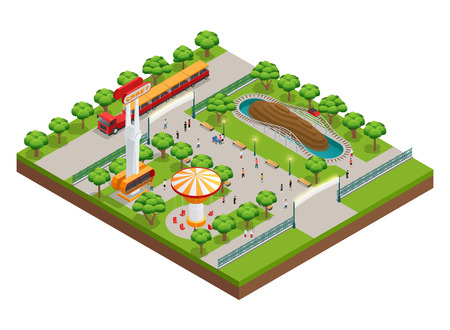 coaster: Amusement park isometric concept with roller coaster and train symbols vector illustration