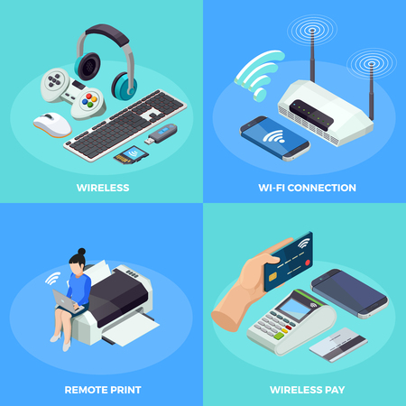 wireless connection: Modern wireless internet connection technology 4 isometric icons square poster with remote printing  and paying isolated vector illustration