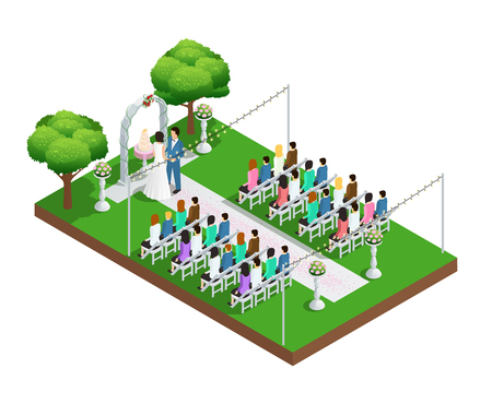 Wedding ceremony in park isometric composition vector illustration