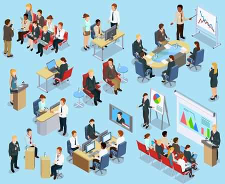 Business coaching isometrische collectie met verschillende manieren van opleiding van werknemers en geïsoleerd ontwikkeling vector illustratie