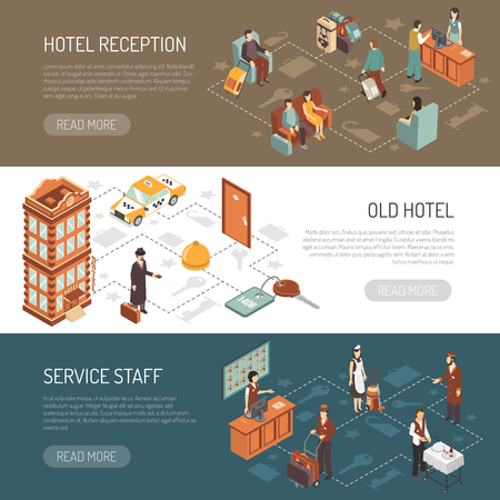 visitors: Hotel isometric horizontal banners with old hotel building service staff and reception hall with visitors  vector illustration