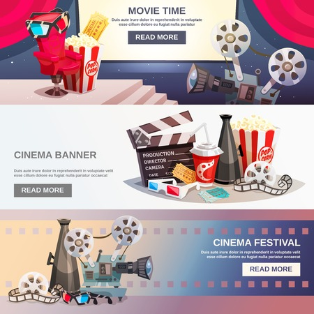 cinematography: Cinematography flat horizontal banners with movie time and cinema festival design compositions in retro style vector illustration Illustration
