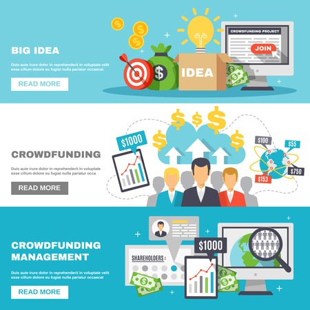 initiator: Crowdfunding horizontal banners for funding of projects and big ideas and raising monetary contributions flat vector illustration