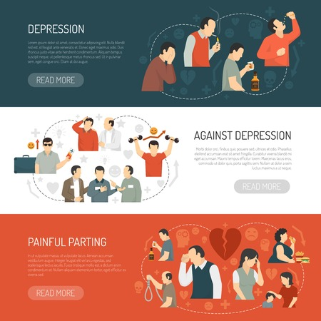parting: Depression horizontal banners with decorative icons describing causes of disease and its consequences  flat vector illustration Illustration