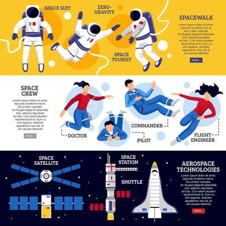 space suit: Flat design horizontal banners with astronauts crew and space transport on colorful backgrounds isolated vector illustration Illustration