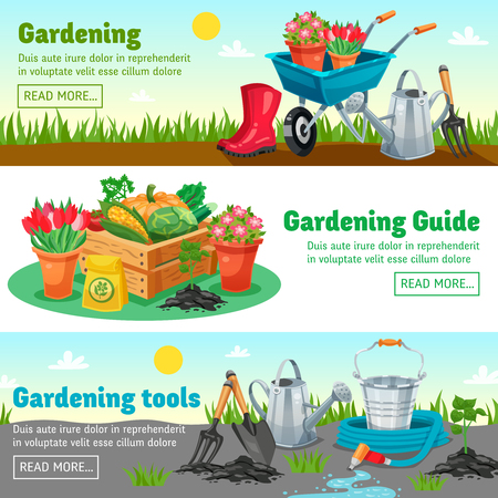 handcart: Gardening horizontal banners with guide information about measures for growing of agricultural products flat vector illustration