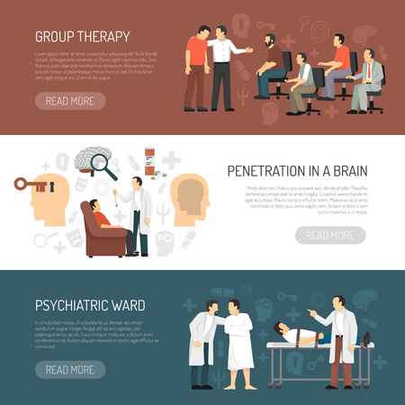 anger abstract: Psychologist horizontal banners with session of group psychotherapy penetration in brain and psychiatric ward icons compositions flat vector illustration