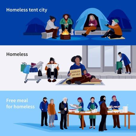 Obdachlose horizontale Banner Asyl für arbeitslose und kostenlose Mahlzeit für hungert flachen Vektor-Illustration