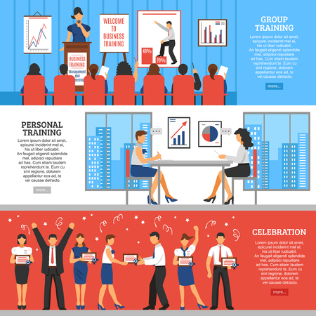 training business: Business training horizontal banners with professional ddevelopment learning teaching and recreation in flat style vector illustration