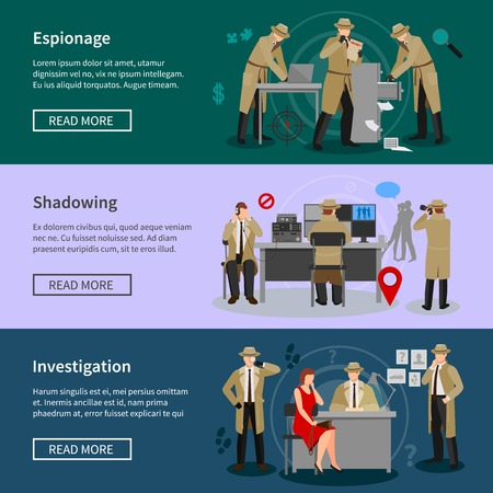 shadowing: Detective spy horizontal banners with agents in various professional situations in flat style vector illustration