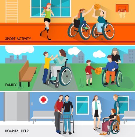 amputation: Disabled people horizontal banners set with sport activity and family symbols flat isolated vector illustration