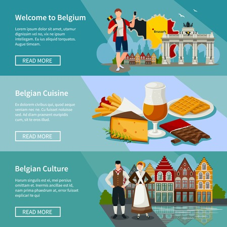 beer house: Set of horizontal banners in flat style with landmarks of belgium cuisine and culture isolated vector illustration