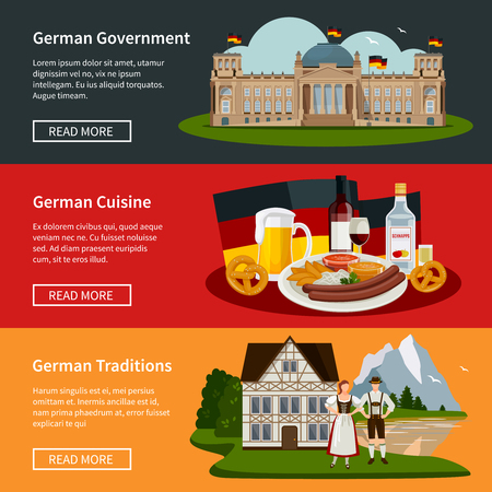 Germany flat horizontal banners with plate of national food government building and traditional symbols vector illustration