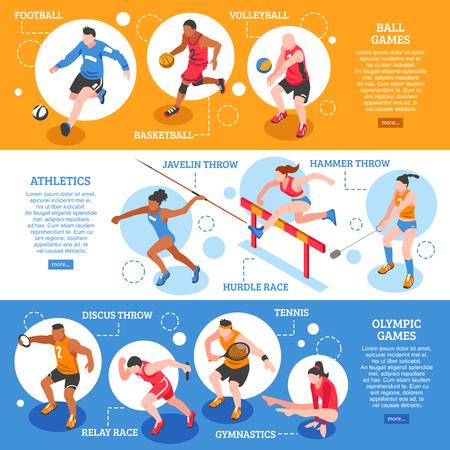 De sportmannen isometrische horizontale banners met spelers en atleten van verschillende soorten sport geïsoleerde vectorillustratie