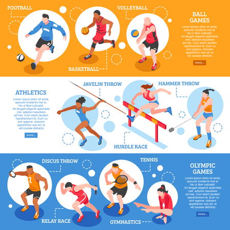 Sportsmen isometric horizontal banners with players and athletes of different types of sport isolated vector illustration