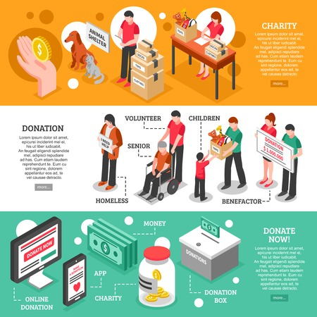 needy: Charity donation center helping and caring about people and animals isometric banners isolated vector illustration