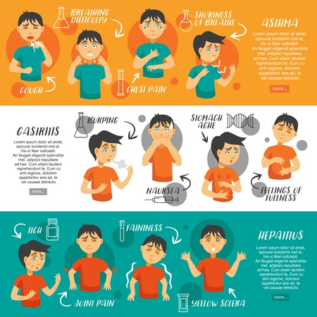 Three horizontal banners set with cartoon boy character suffering from different illnesses asthma gastritus and hepatitus vector illustration