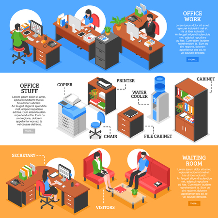 Three horizontal banners set with isometric office workplaces colorful furniture with text and read more button vector illustration Illustration