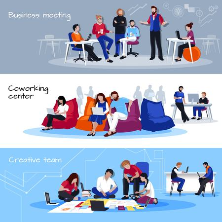 Coworking people horizontal banners with business meating coworking center and creative team compositions flat vector illustration