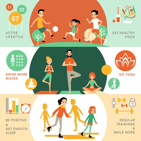 healthy people: Active healthy lifestyle horizontal banners with people and different activities for good health vector illustration