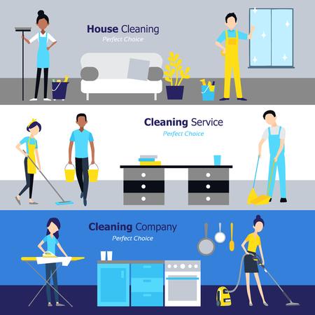 Bannières horizontales de nettoyage professionnel avec des services d'entreprises et de personnes dans une illustration vectorielle à l'image plate