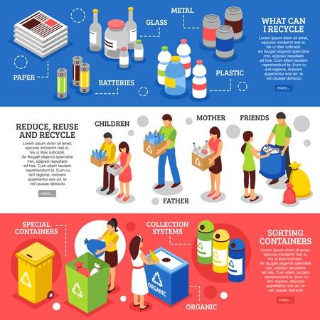 Trois bannières de recyclage des ordures horizontales fixées avec des figures isométriques des gens de tri des ordures et conteneurs images illustration vectorielle