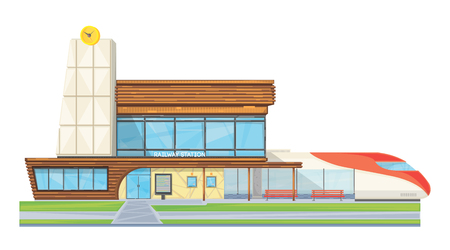 intercity: Modern steel glass railway station building front view flat image with speed intercity train vector illustration